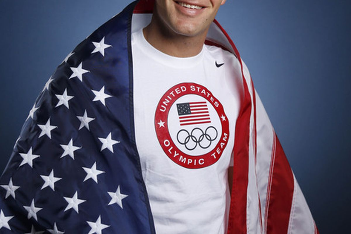 May 14, 2012; Dallas, TX, USA;  Team USA men's swimmer Brendan Hansen during a portrait session at the 2012 Team USA Media Summit at the Hilton Anatole. Mandatory Credit: Jim Cowsert-US PRESSWIRE