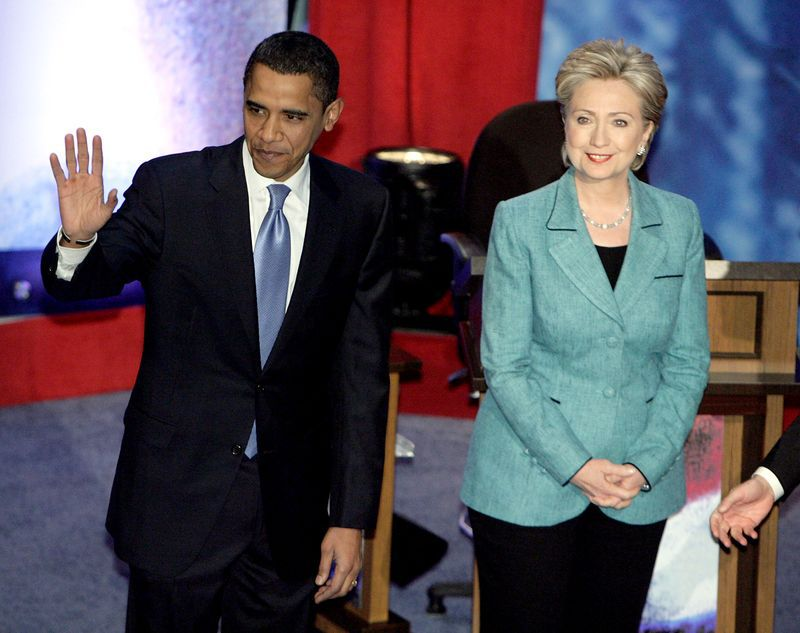 Obama and Clinton during the 2008 election. (Jae C. Hong-Pool/Getty Images)