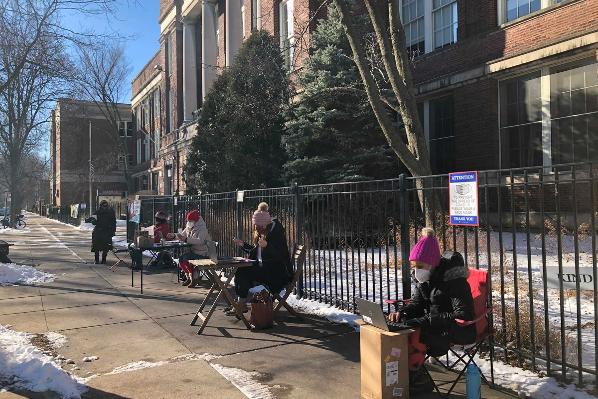 Educators at several Chicago schools, including Bateman Elementary, took their desks outdoors to teach remotely this week, as the union escalated efforts to push back on the city's school reopening plan.