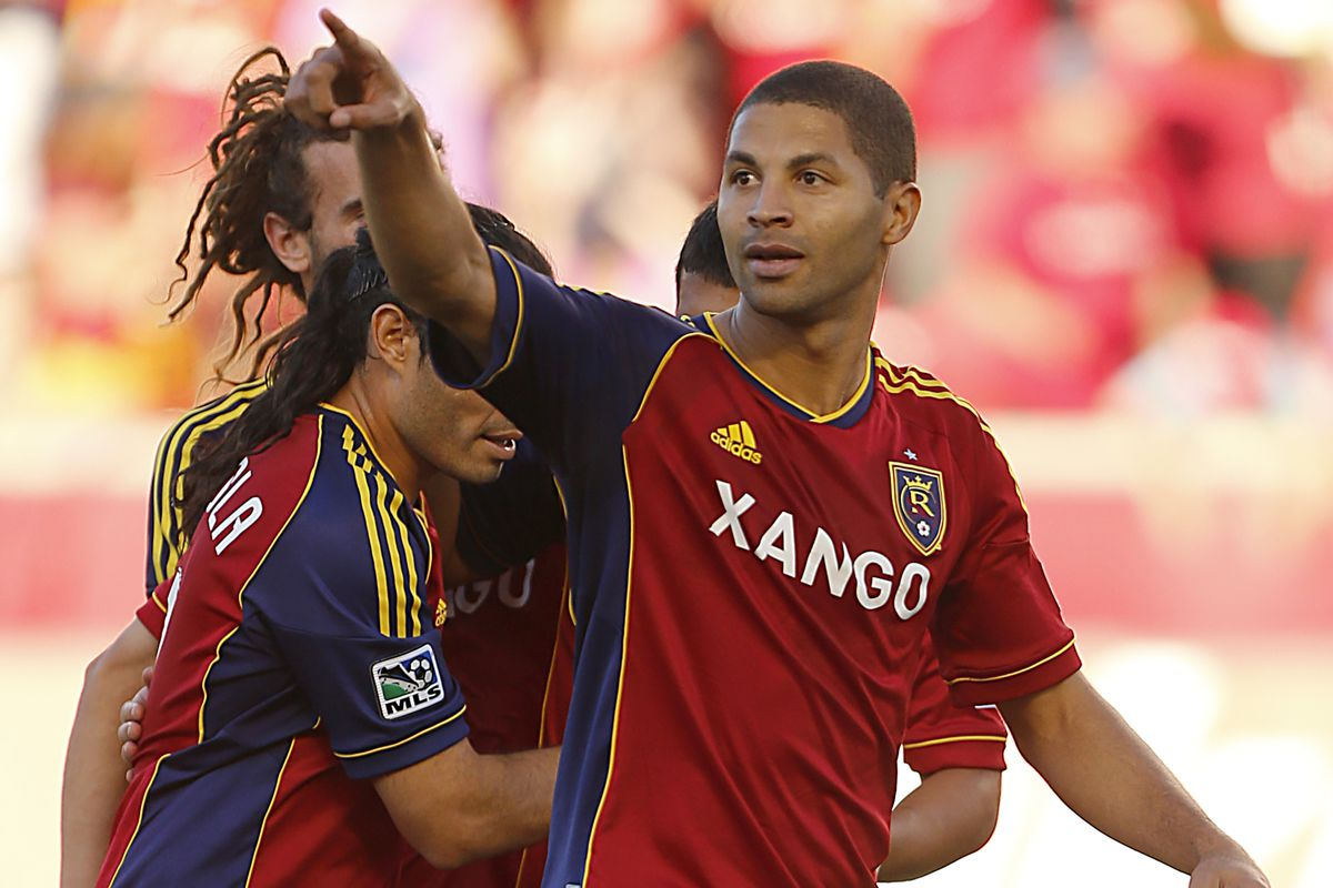 Alvaro Saborio spots RSL's new striker in the stands. Or perhaps he doesn't.