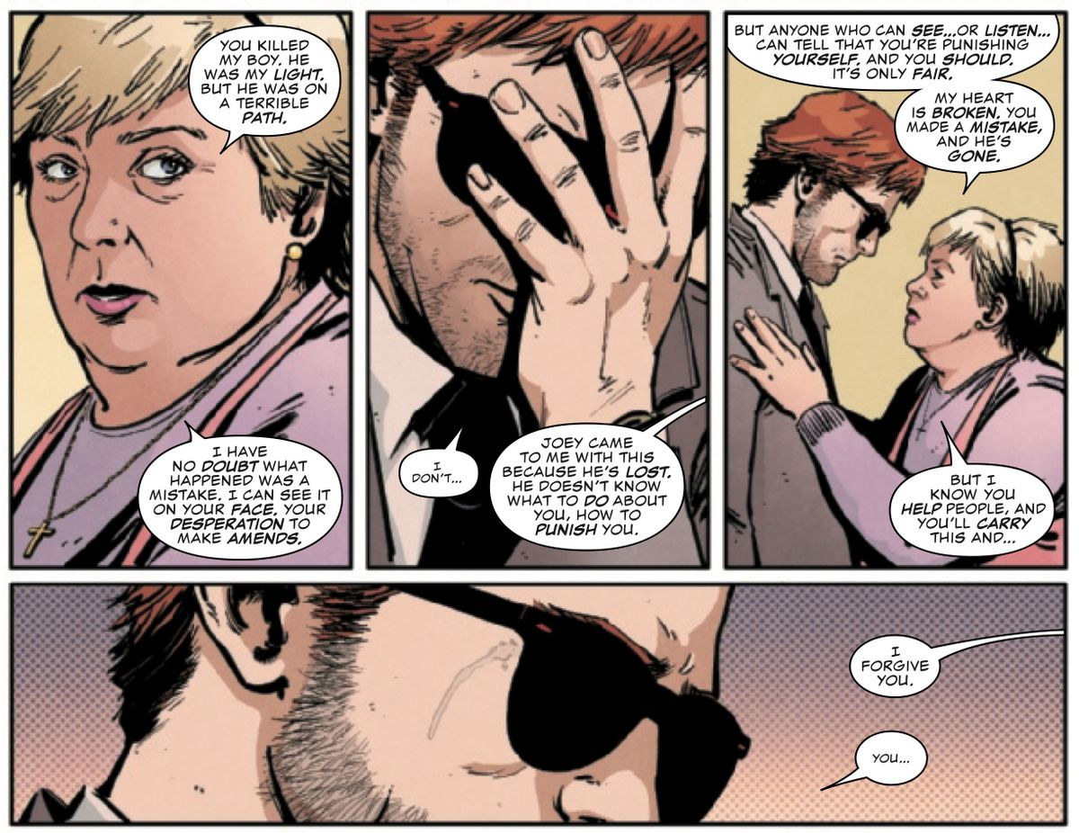 The mother of the petty criminal that Daredevil accidentally killed forgives him, because she can see he is punishing himself, in Daredevil #17, Marvel Comics (2020).