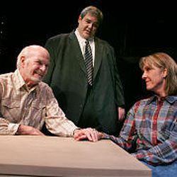 "Bud Todd (Tony Larimer), Rev. Todd (Jason Tatom) and Nancy Carpenter (Anita Booher) in ""Man From Nebraska."""
