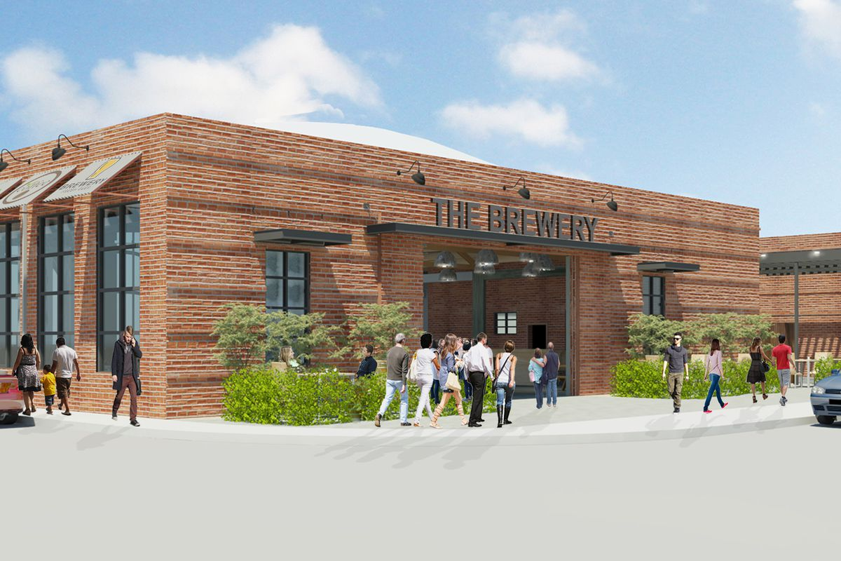 Glendora Public Market rendering, showing a large brick building with ample parking spaces on a sunny day.