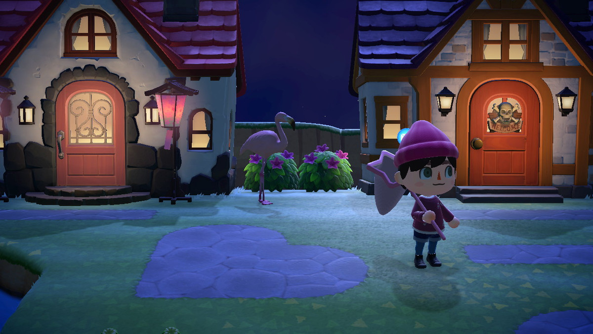 Animal Crossing: New Horizons - a player stands outside their house at night