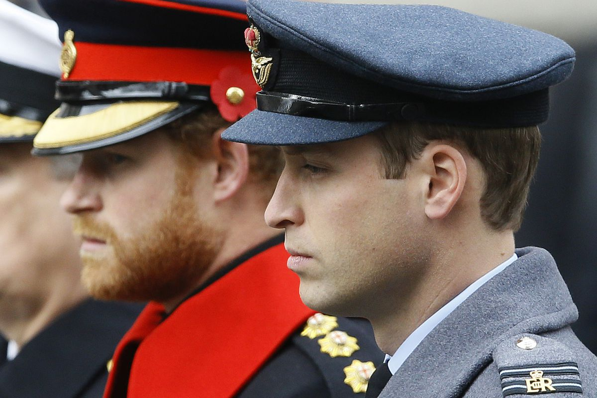In this Sunday Nov. 8, 2015 file photo, Britain's Prince William, right, and Prince Harry attend the Remembrance Sunday ceremony at the Cenotaph in London.
