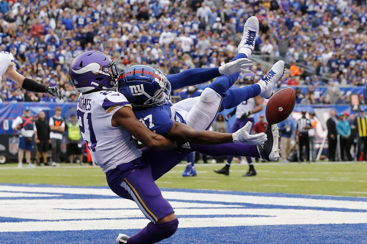 Mike Hughes of the Minnesota Vikings defends against Sterling Shepard of the New York Giants at MetLife Stadium on October 06, 2019 in East Rutherford, New Jersey.