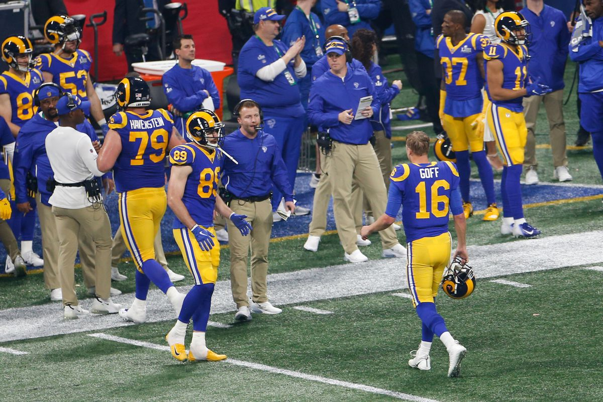 Los Angeles Rams QB Jared Goff walks to the sideline after throwing an interception against the New England Patriots in Super Bowl LIII, Feb. 3, 2019.