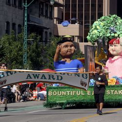 The Bountiful Utah East Stake float makes its way along the Days of '47 Parade route in Salt Lake City on Friday, July 23, 2021. The float won the Brigham Young Award.