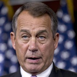 FILE - In this Sept. 21, 2012 file photo, House Speaker John Boehner of Ohio speaks on Capitol Hill in Washington. With Election Day less than six weeks off, Democrats and Republicans dueling for House control are focusing on poll-tested themes to launch attacks on each other. Yet even as Republicans warily gauge the impact Mitt Romney's recent campaign struggles might have on House races, the outlook seems essentially unchanged: Democrats may gain a few seats and perhaps do a bit better than was expected weeks ago, but seem unlikely to grab the added 25 seats they need to take over the chamber.