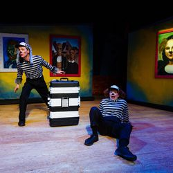 """Jaten Lee McGriff as Thief 1, left, and Jenessa Bowen as Thief 2 in Salt Lake Acting Company's production of """"Art Dog,"""" which runs Dec. 4-23."""