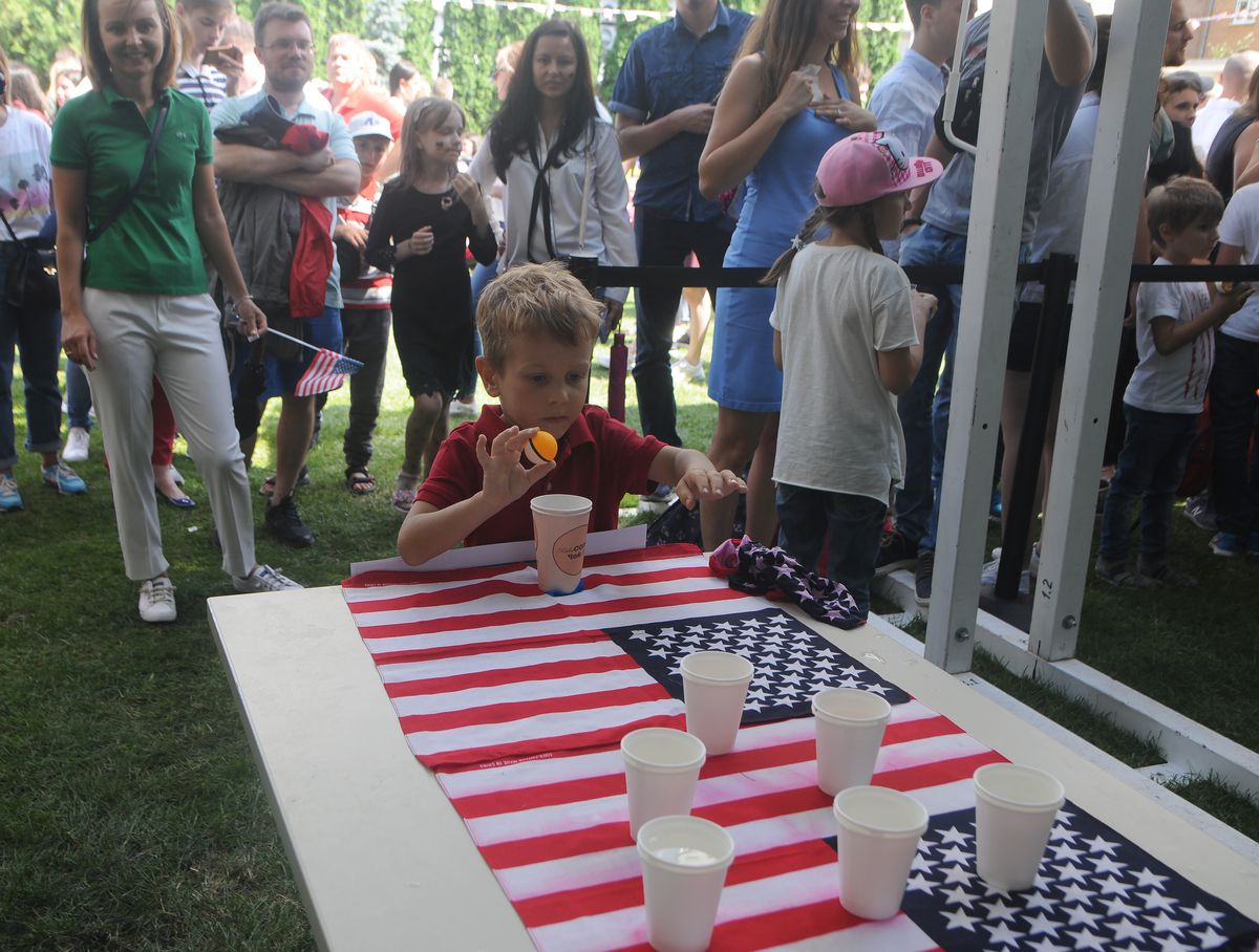 A boy takes part in one of the games during the US...