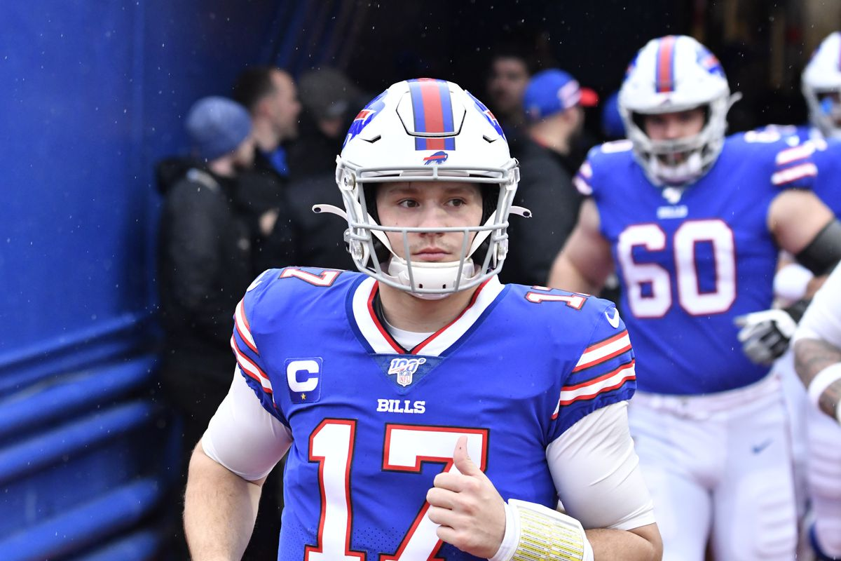 Buffalo Bills quarterback Josh Allen enters the field prior to a game against the New York Jets at New Era Field.