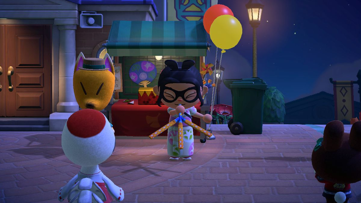 An Animal Crossing character blows on a Tweeter