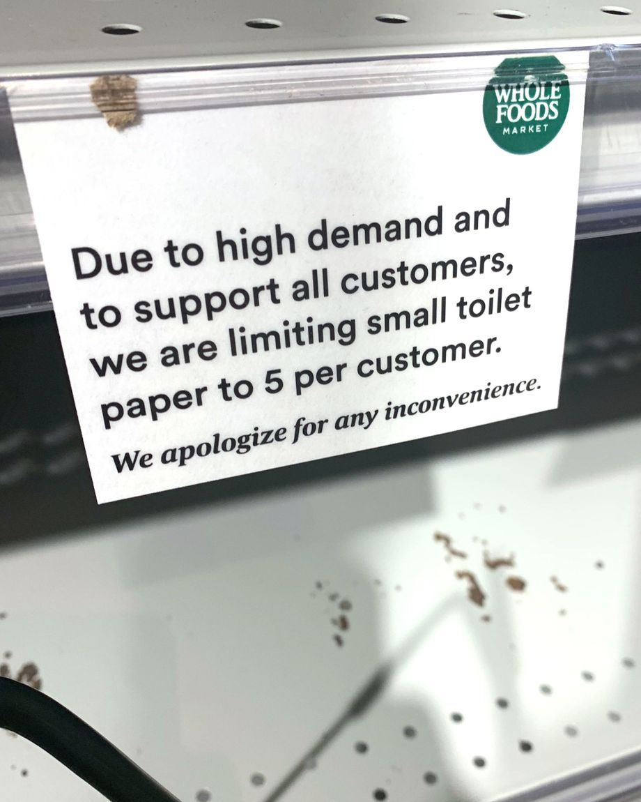 A Whole Foods tries to prevent a run on basic necessities.