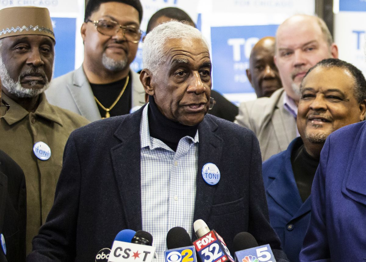 The Rev. Leon Finney speaks during a March press conference.