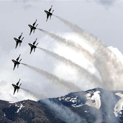 The Air Force Thunderbirds perform for the thousands who turned out for the Hill Air Force Base Open House and Air Show Saturday.