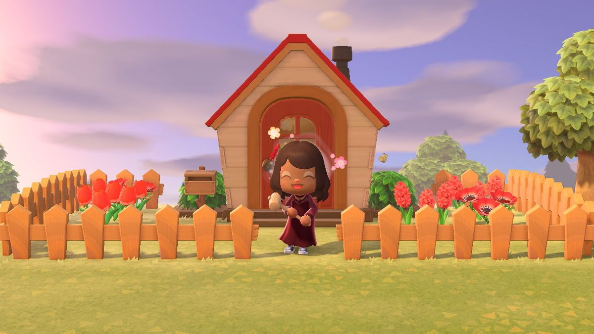 An Animal Crossing character standing in front of a house.