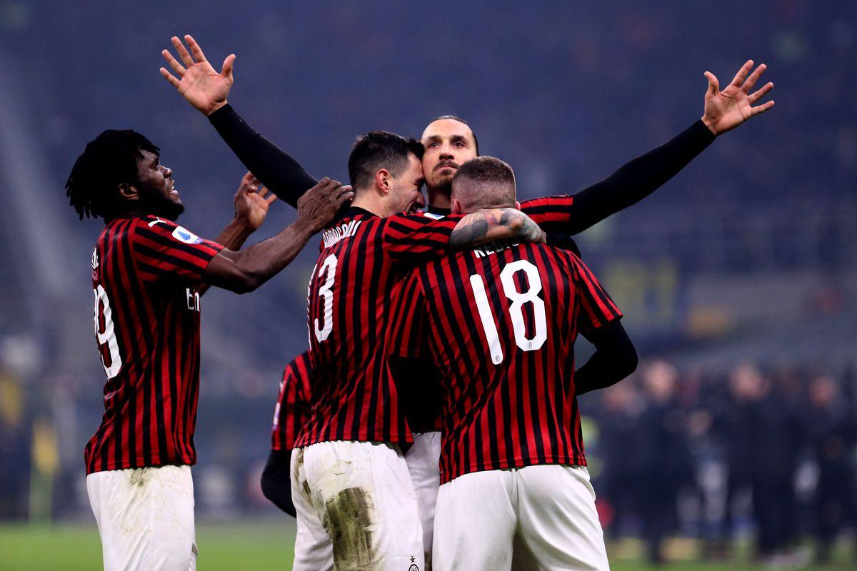 Zlatan Ibrahimovic celebrates scoring Milan's second.