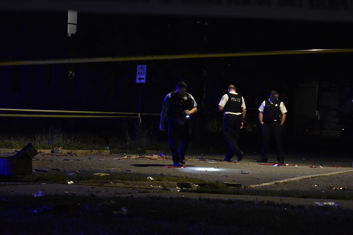 Chicago police investigate after six people were shot July 5, 2020, in the 1400 block of South Millard Avenue in Lawndale.