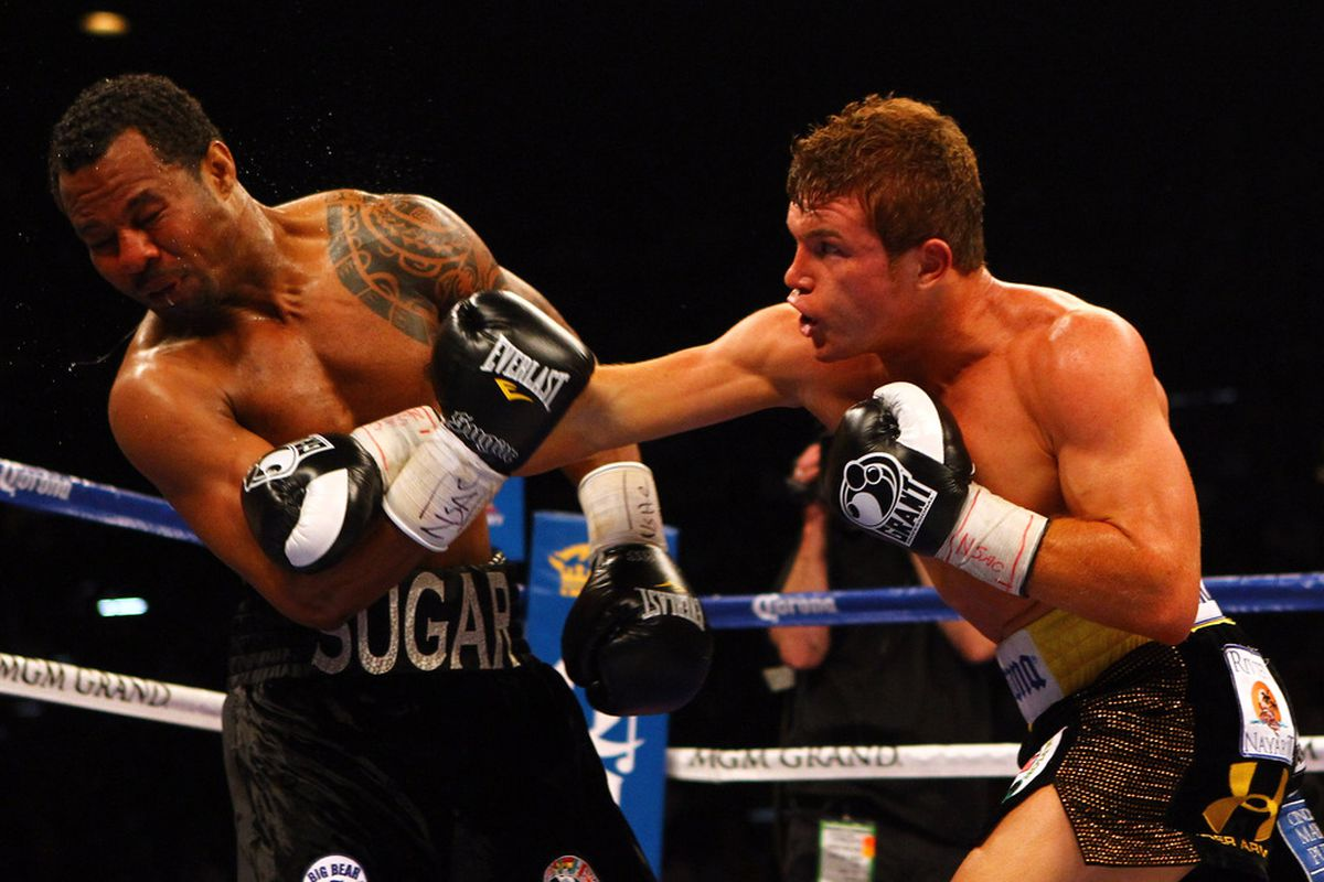 Canelo Alvarez brutalized Shane Mosley over 12 rounds tonight in Las Vegas. (Photo by Al Bello/Getty Images)