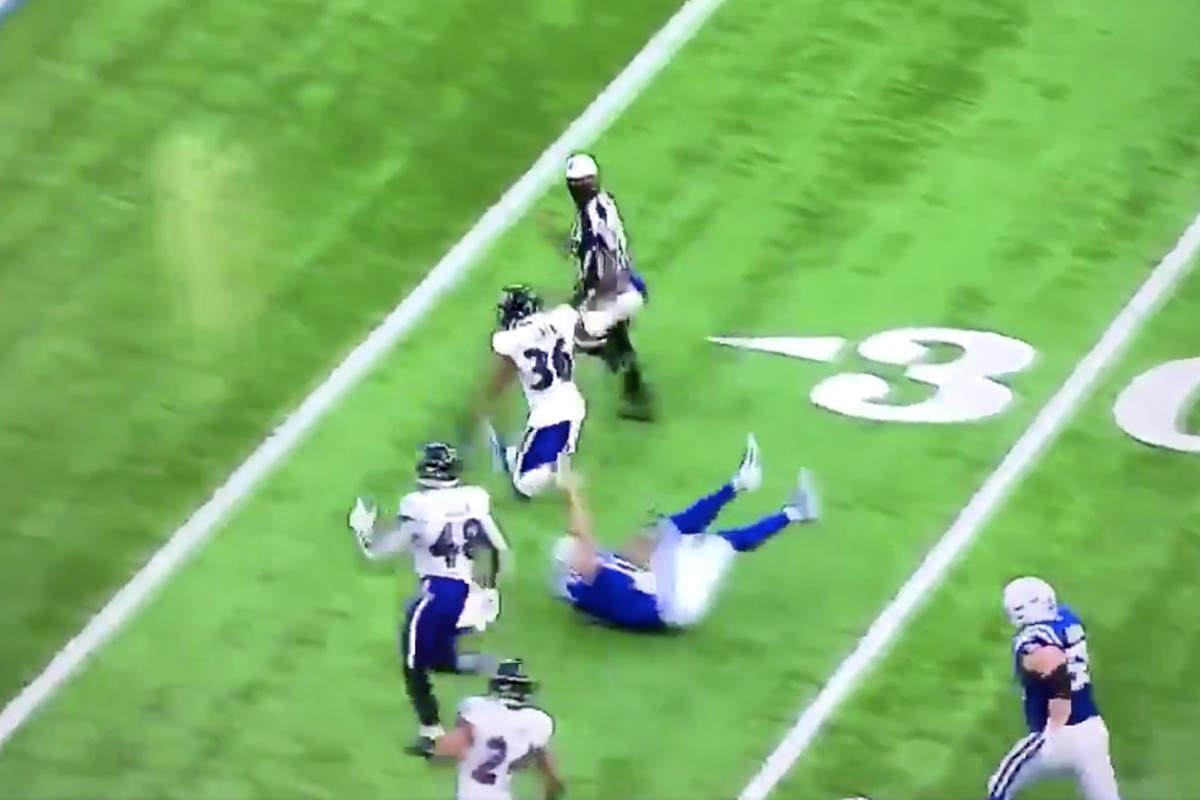 Philip Rivers Turns Into A Meme As He Falls Down On Ravens Fumble Return Video Draftkings Nation