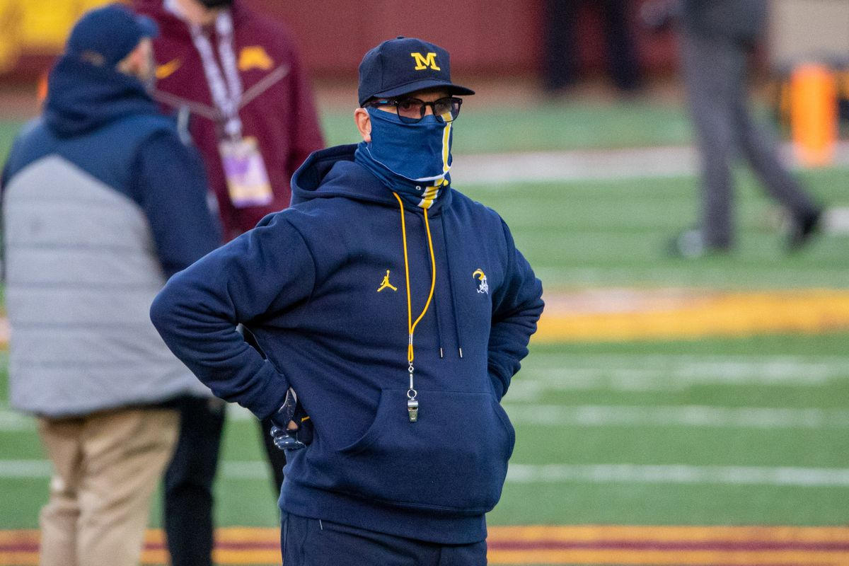 Michigan Wolverines head coach Jim Harbaugh looks on during pre game warmups before a game against the Minnesota Golden Gophers at TCF Bank Stadium. Mandatory Credit: Jesse Johnson