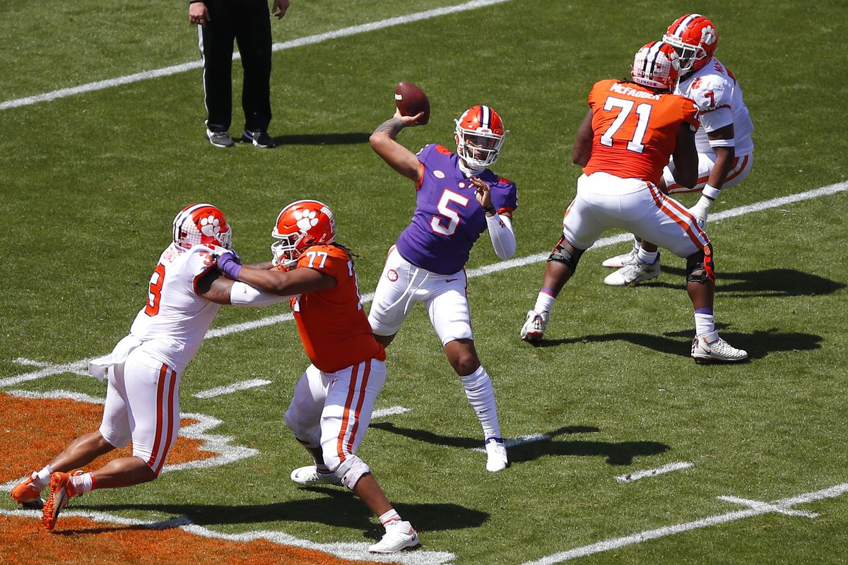 D.J. Uiagalelei of the Clemson Tigers passes during the Clemson Orange and White Spring Game at Memorial Stadium on April 3, 2021 in Clemson, South Carolina.