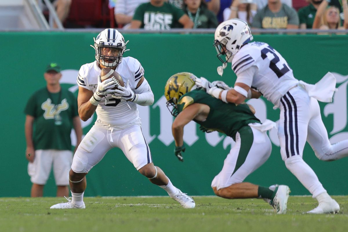 Linebacker Chaz Ah You intercepts a pass in BYU's loss to USF at Raymond James Stadiumin Tampa, Florida on Oct. 12, 2019.