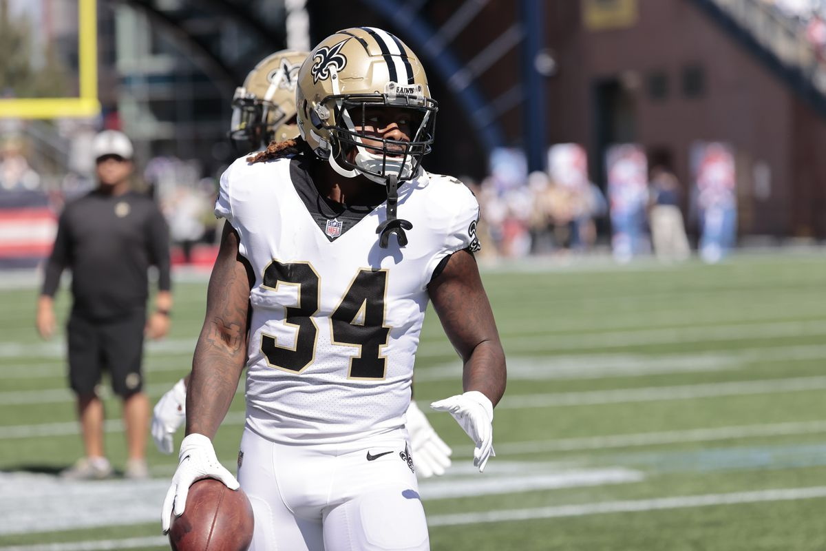 New Orleans Saints running back Tony Jones (34) in warm up before a game between the New England Patriots and the New Orleans Saints on September 26, 2021 at Gillette Stadium in Foxborough, Massachusetts.