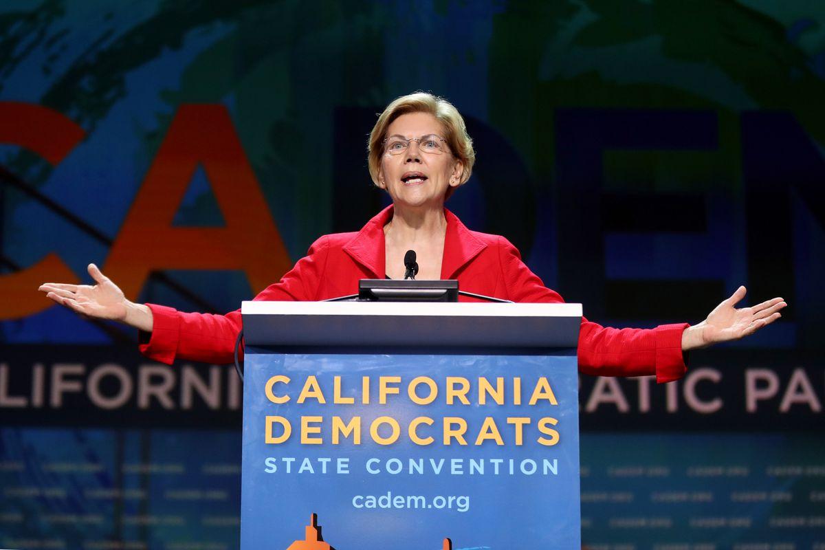 Sen. Elizabeth Warren speaks onstage at the 2019 California Democratic Party Convention.