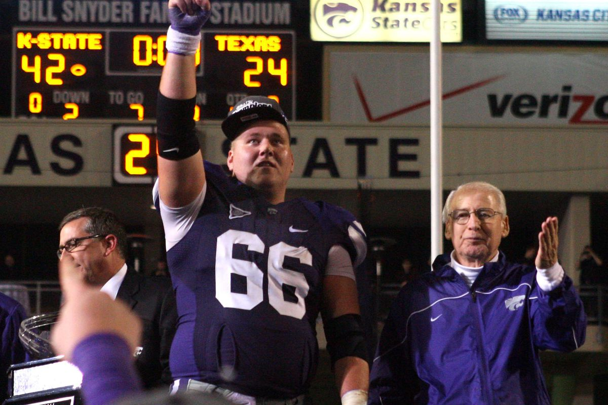 Coach Bill Snyder, right, and his meaty protege, B.J. Finney, captain and anchor of the offensive line.