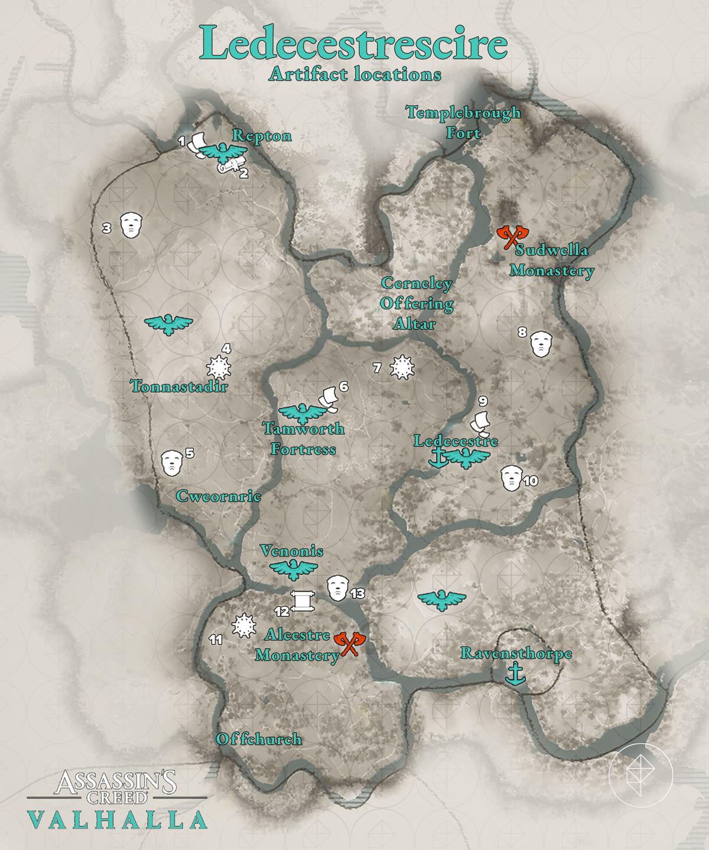 Ledecestrescire Artifacts locations map