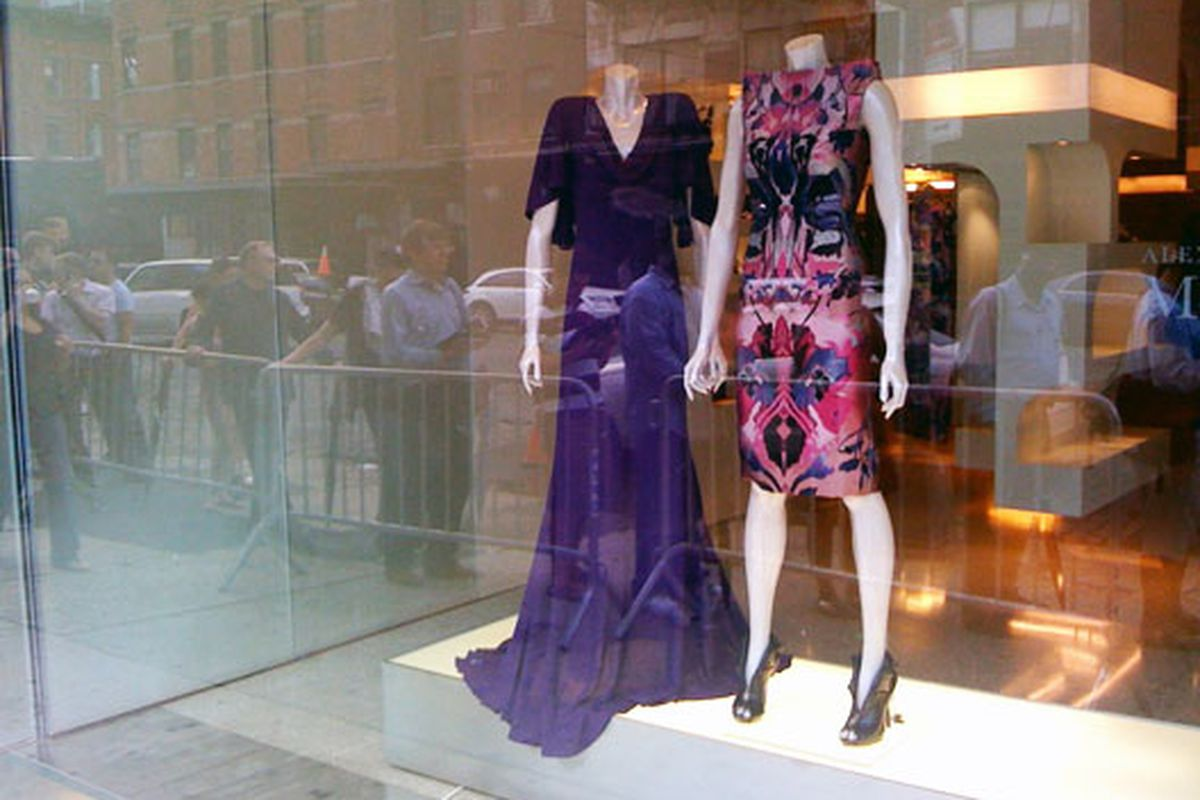 """McQueen dresses watching over the iPhone line. Photo by <a href=""""http://thingsidontunderstandand.tumblr.com/"""">Jen Snow</a>"""