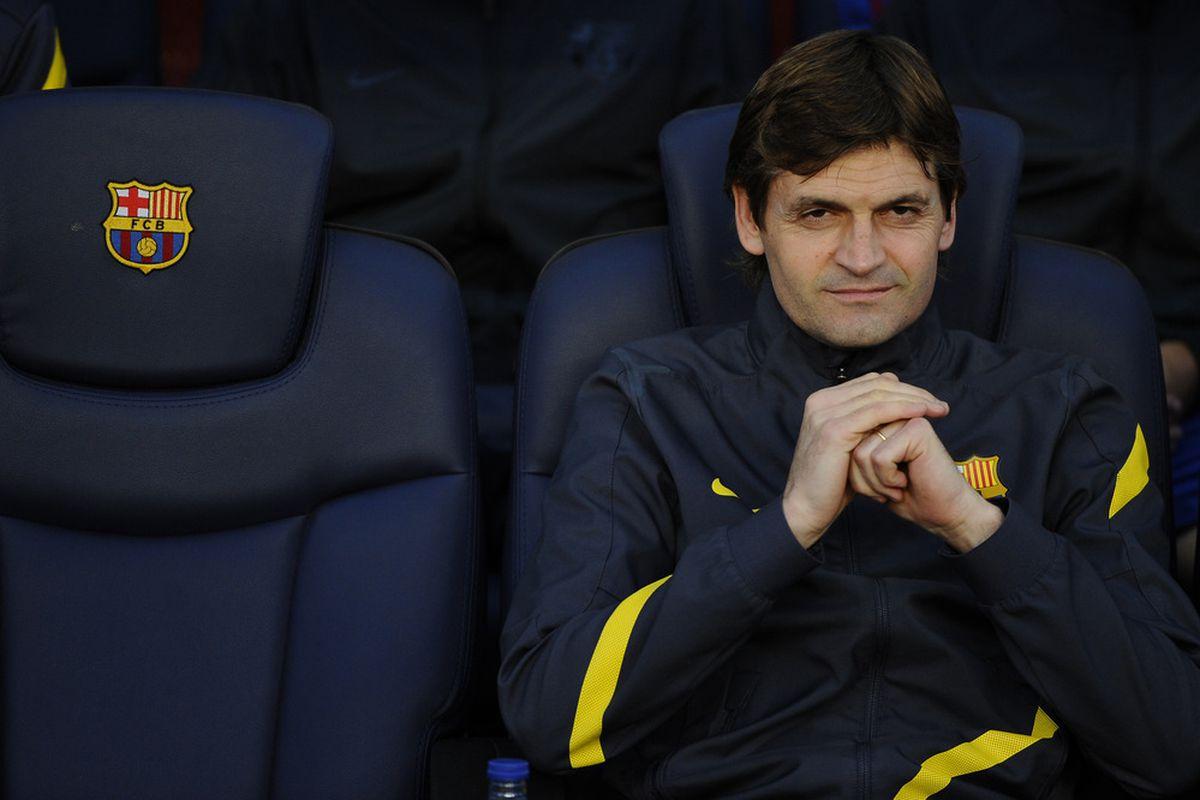 BARCELONA, SPAIN - MAY 02:  Future head coach Tito Vilanova of FC Barcelona looks on from the bench. (Photo by David Ramos/Getty Images)
