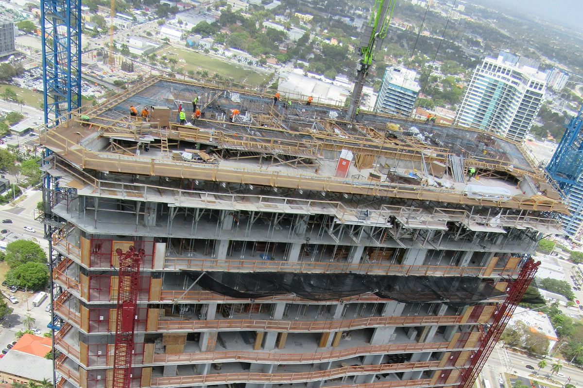 An aerial view of the topped off Paraiso Bayviews in Edgewater