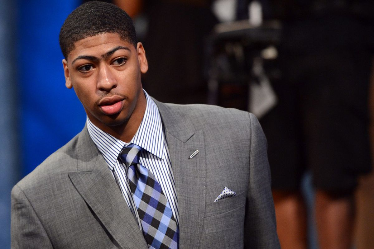 June 28, 2012; Newark, NJ, USA; Anthony Davis (Kentucky) walks on the stage before the 2012 NBA Draft at the Prudential Center.  Mandatory Credit: Jerry Lai-US PRESSWIRE