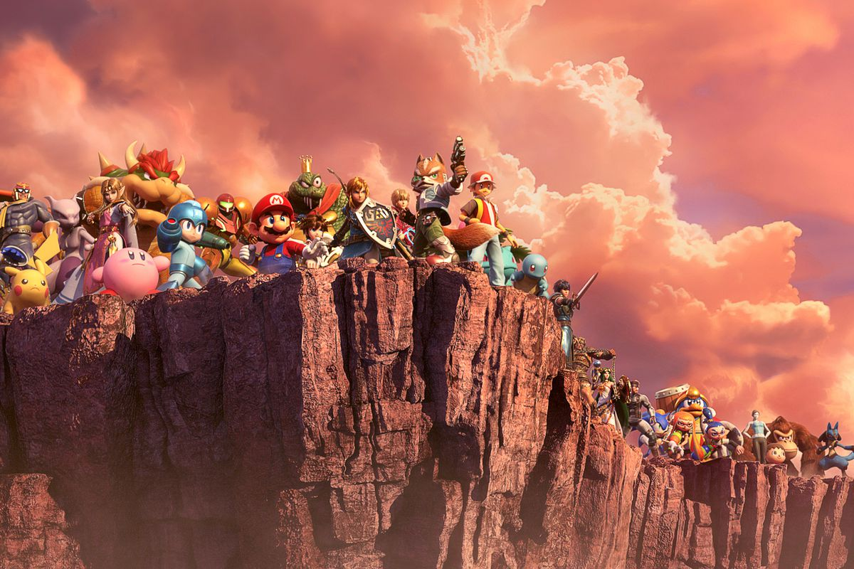 a line of Smash Bros. characters stands at the edge of a cliff in Super Smash Bros. Ultimate