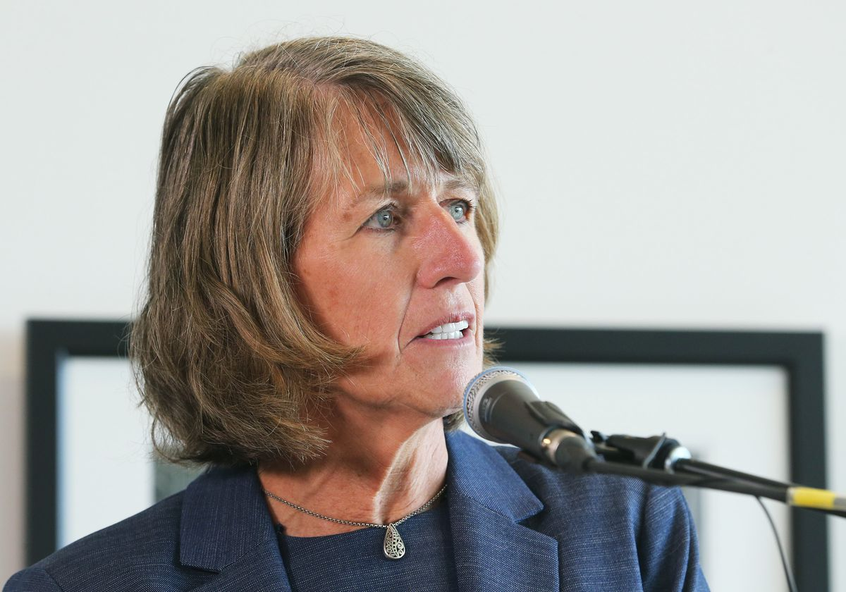 Utah State University President Noelle Cockett announces results of an independent investigation into sexual misconduct allegations in the Piano Music Program in the Music Department at a press conference in Logan on Friday, April 6, 2018.