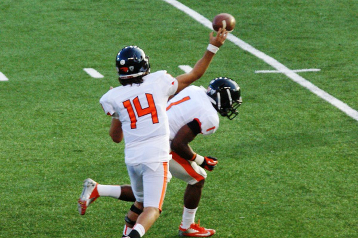 Cody Vaz is battling to start at quarterback, but he is behind Sean Mannion here.