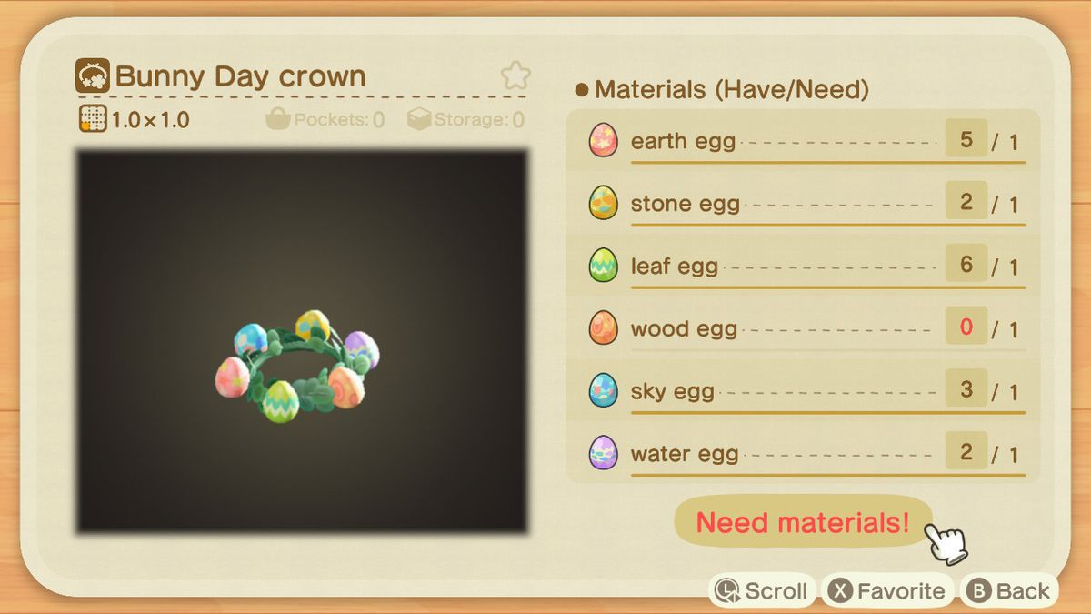 A crafting recipe for a Bunny Day Crown in Animal Crossing: New Horizons