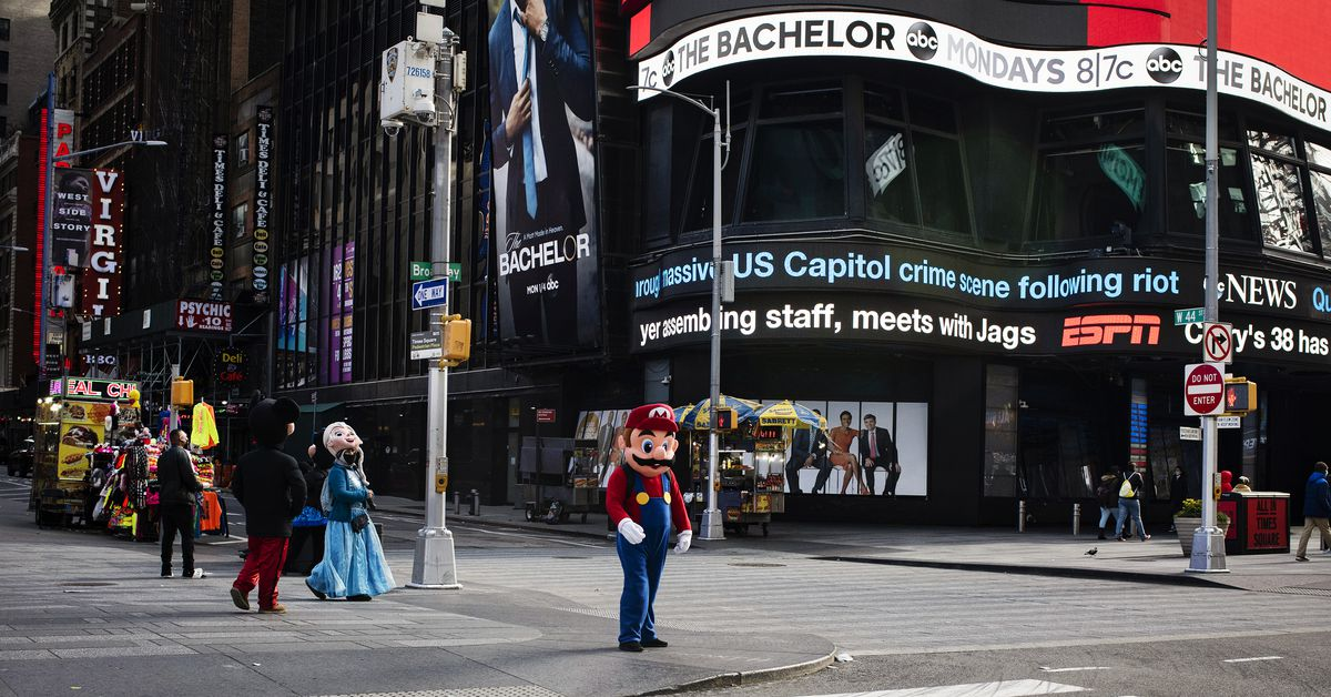 www.vox.com: Naked Cowboy and Times Square characters are left without crowds in the Covid-19 pandemic