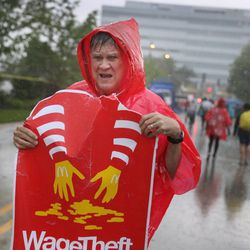 Demonstrators calling for an increase in the minimum wage to $15-an-hour protest outside of McDonald's corporate headquarters on May 25, 2016 in Oak Brook, Illinois.   Scott Olsen/Getty Images