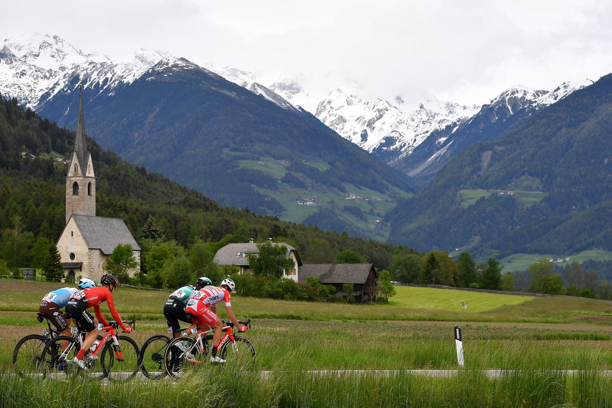 ANTHOLZ-ANTERSELVA, ITALY - MAY 29: Nans Peters of France and Team AG2R La Mondiale / Chris Hamilton of Australia and Team Sunweb / Davide Formolo of Italy and Team Bora - Hansgrohe / Fausto Masnada of Italy and Team Androni Giocattoli - Sidermec / Falzes
