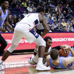 UConn's Tyler Polley (12) during the Columbia Lions vs UConn Huskies men's college basketball game at Gampel Pavilion in Storrs, CT on November 29, 2017.