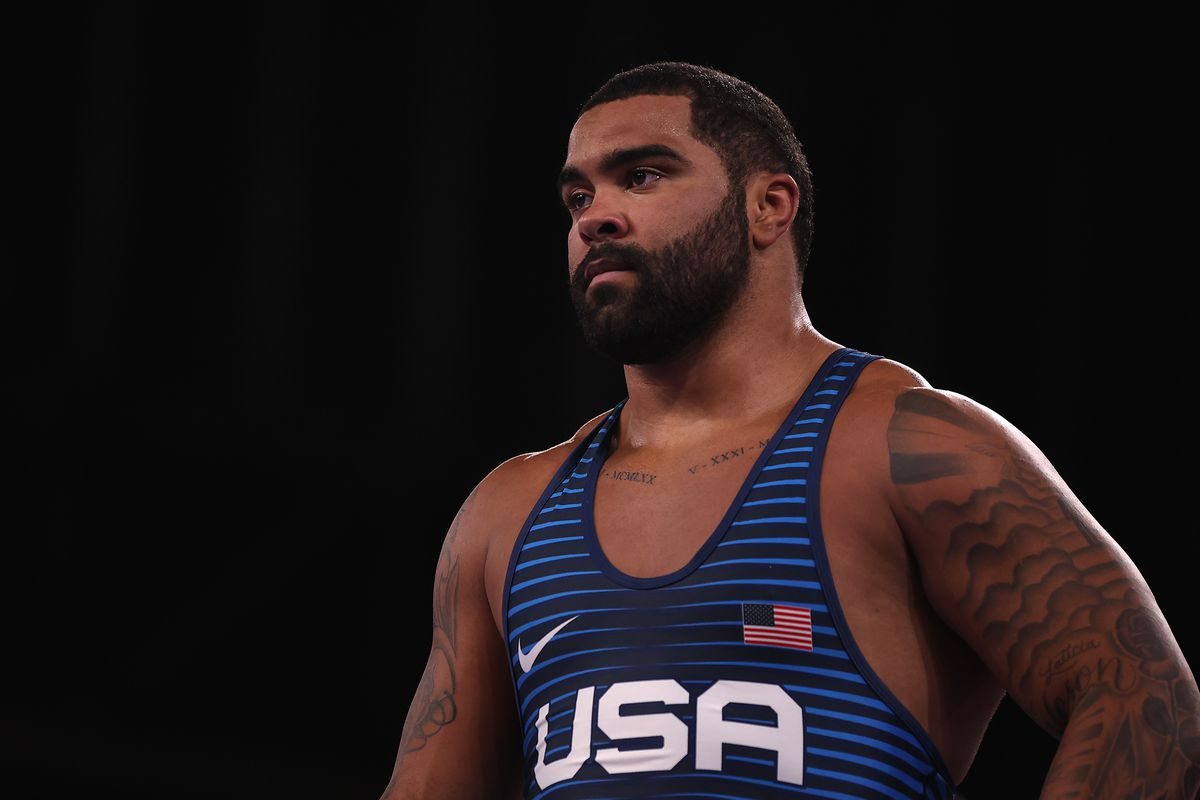 Freestyle wrestling gold medalist Gable Steveson at the Tokyo 2020 Olympics.