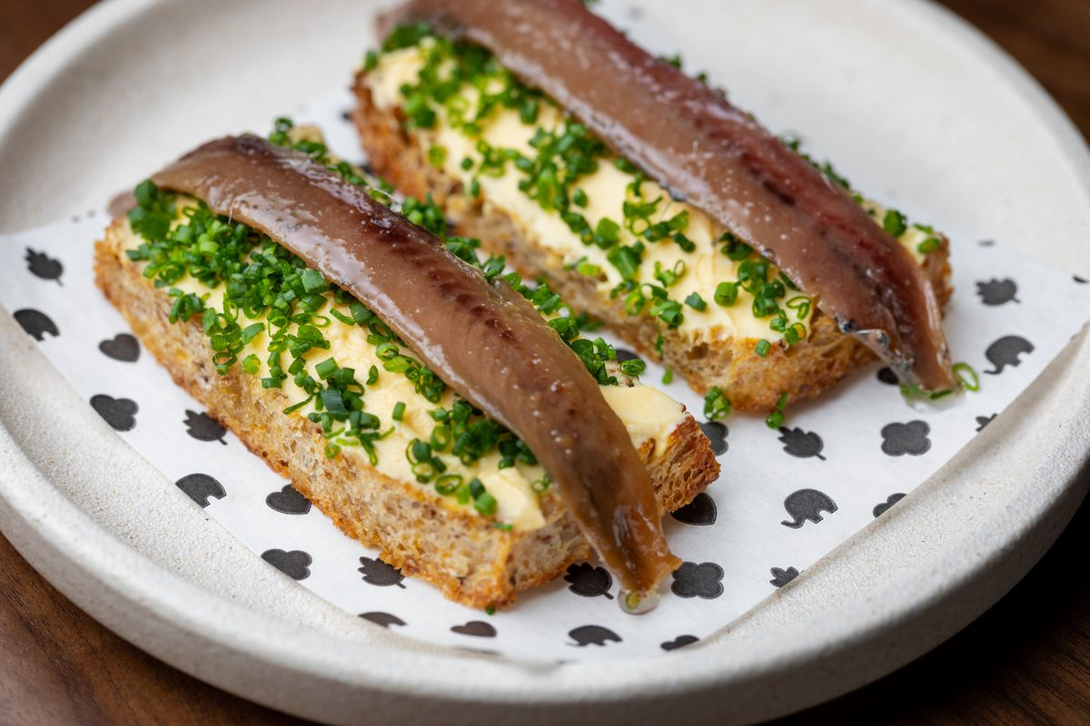 Anchovy toast with egg butter at EP