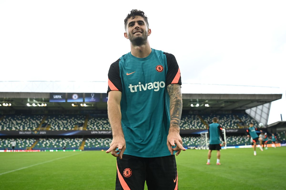 Christian Pulisic of Chelsea reacts following a Chelsea FC Training Session ahead of the UEFA Super Cup 2021 match between Chelsea FC and Villarreal at Windsor Park on August 10, 2021 in Belfast, Northern Ireland.