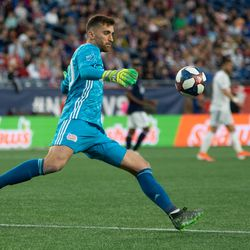 FOXBOROUGH, MA - MAY 25: New England Revolution goalkeeper Matt Turner #30 kicks the ball down field during the first half at Gillette Stadium on May 25, 2019 in Foxborough, Massachusetts. (Photo by J. Alexander Dolan - The Bent Musket)