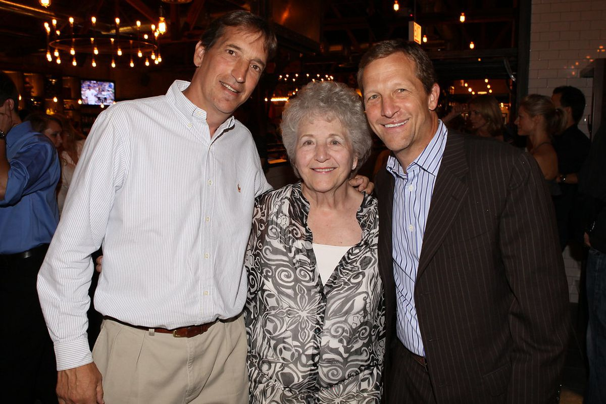 Jean Malnati, matriarch of the Lou Malnati's pizza chain, with sons Rick (left) and Marc, who now run the company. She turned 91 on Tuesday, Dec. 22.
