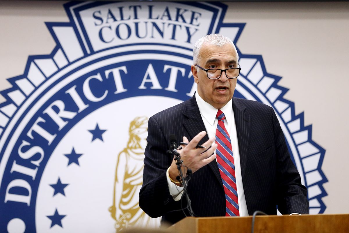 Salt Lake County District Attorney Sim Gill, pictured in this February 2020 file photo, speaks during a press conference at the Salt Lake County District Attorney's Office in Salt Lake City.